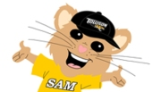 TU Mouse Tan No Outline Yellow Tshirt Black Hat New Mouth SMALL